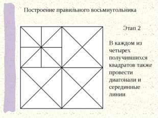 Этап 2 В каждом из четырех получившихся квадратов также провести диагонали и