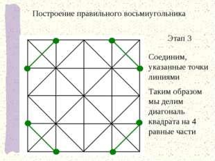 Этап 3 Соединим, указанные точки линиями Таким образом мы делим диагональ ква