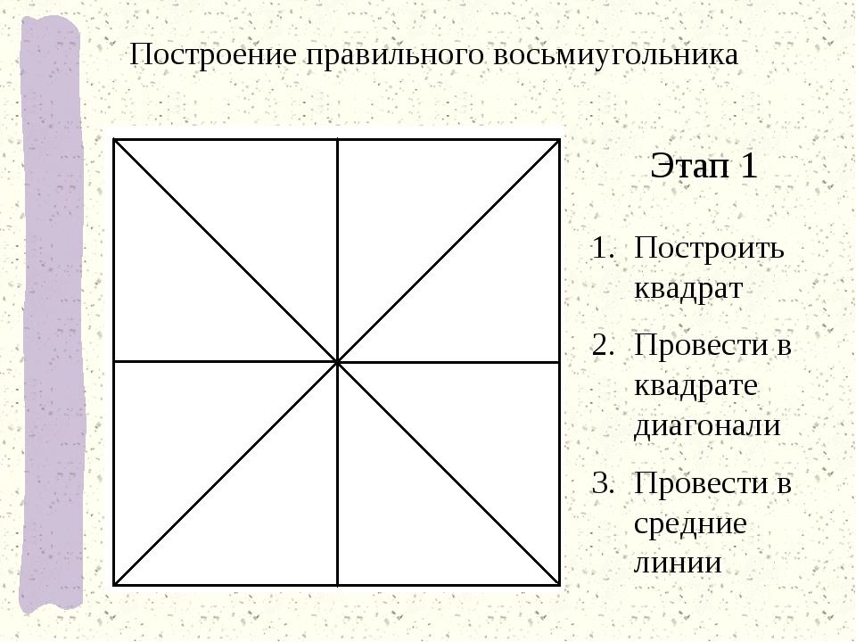Построение правильного восьмиугольника Этап 1 Построить квадрат Провести в кв...