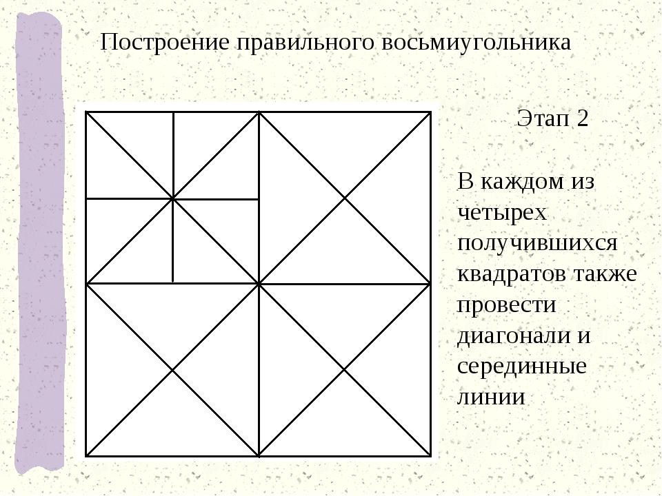 Этап 2 В каждом из четырех получившихся квадратов также провести диагонали и...