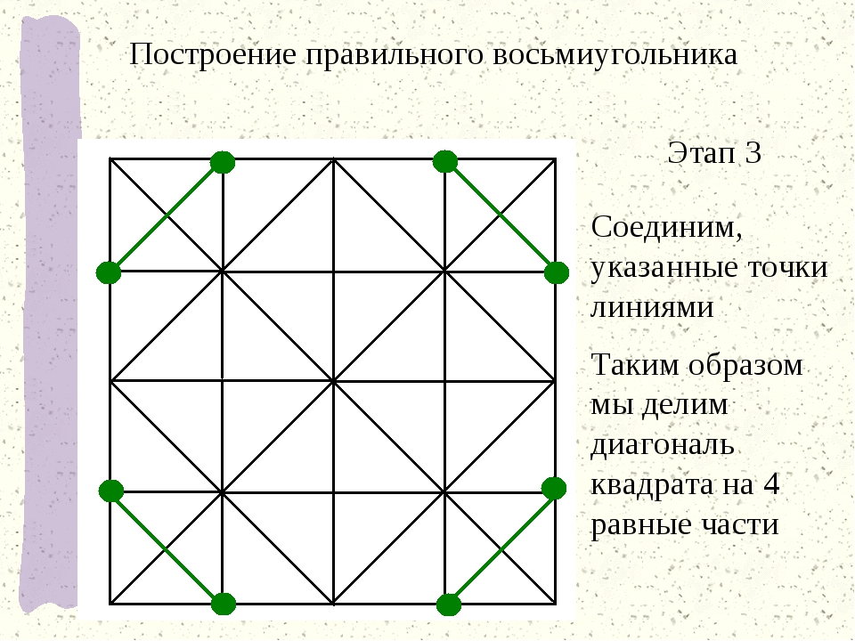 Этап 3 Соединим, указанные точки линиями Таким образом мы делим диагональ ква...