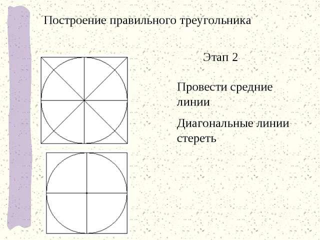 Этап 2 Провести средние линии Диагональные линии стереть Построение правильно...