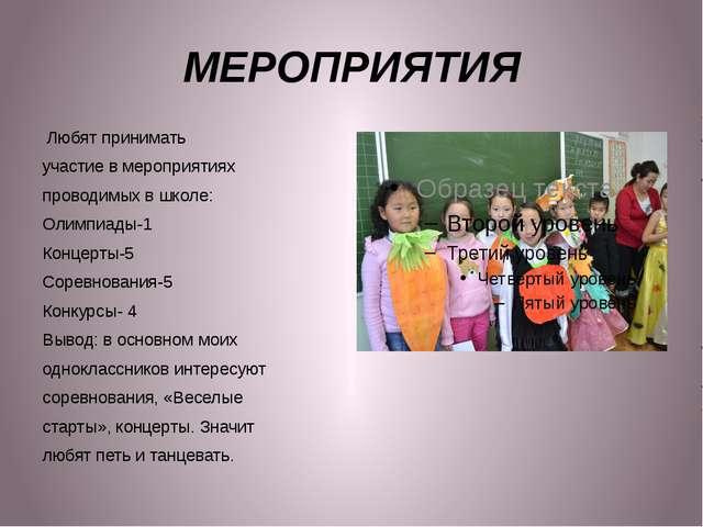 МЕРОПРИЯТИЯ Любят принимать участие в мероприятиях проводимых в школе: Олимпи...