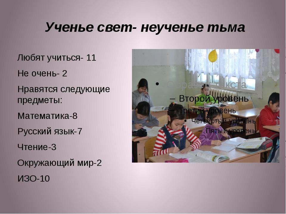 Ученье свет- неученье тьма Любят учиться- 11 Не очень- 2 Нравятся следующие...