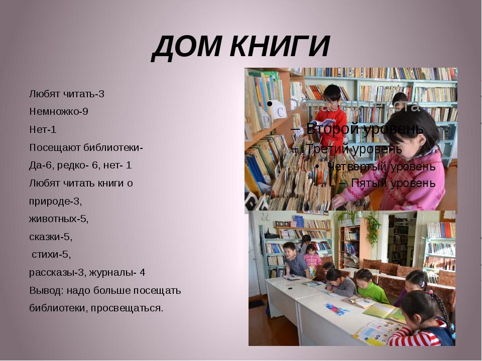 ДОМ КНИГИ Любят читать-3 Немножко-9 Нет-1 Посещают библиотеки- Да-6, редко- 6...