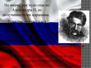 Не иначе, как чудо спасло Александра II, не получившего ни царапины. Террорис