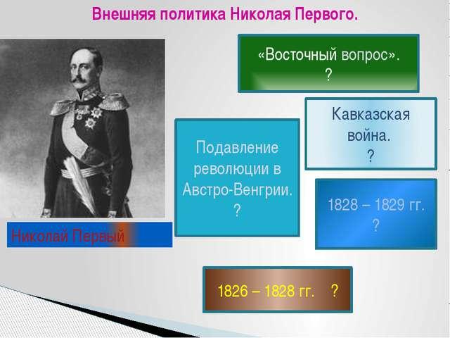 Внешняя политика Николая Первого. «Восточный вопрос». ? Подавление революции...