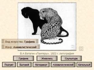 В.А.Ватагин «Пантеры», 1922 г. литография Живопись Скульптура Графика Портрет