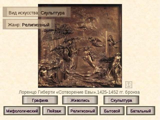 Лоренцо Гиберти «Сотворение Евы»,1425-1452 гг. бронза Живопись Скульптура Гра...
