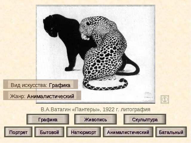 В.А.Ватагин «Пантеры», 1922 г. литография Живопись Скульптура Графика Портрет...