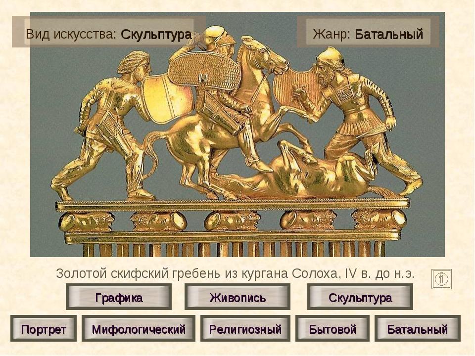 Золотой скифский гребень из кургана Солоха, IV в. до н.э. Живопись Скульптура...