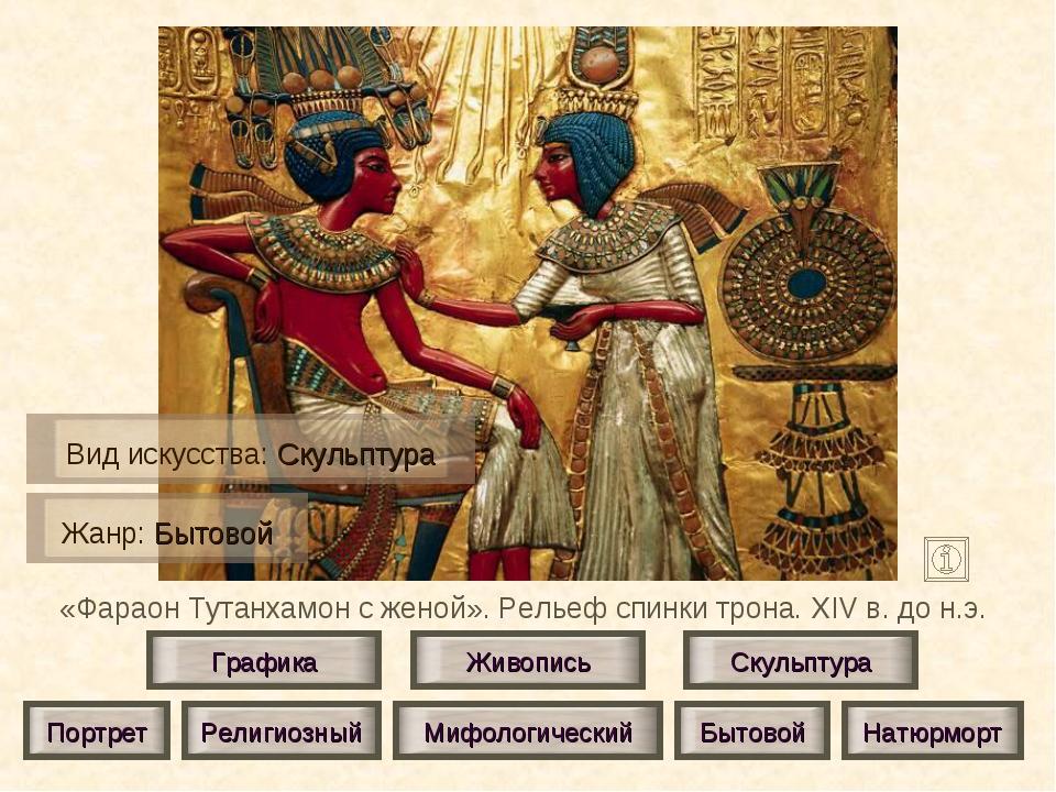 «Фараон Тутанхамон с женой». Рельеф спинки трона. XIV в. до н.э. Живопись Ску...