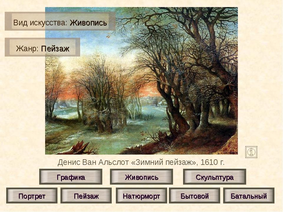 Денис Ван Альслот «Зимний пейзаж», 1610 г. Живопись Скульптура Графика Портре...