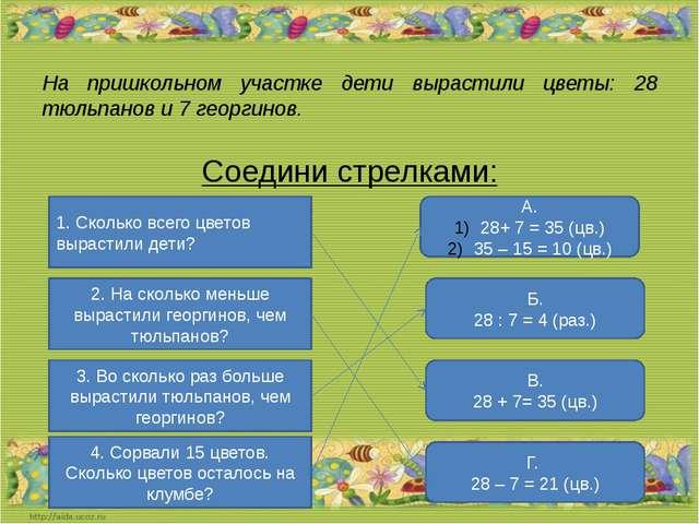 На пришкольном участке дети вырастили цветы: 28 тюльпанов и 7 георгинов. Соед...