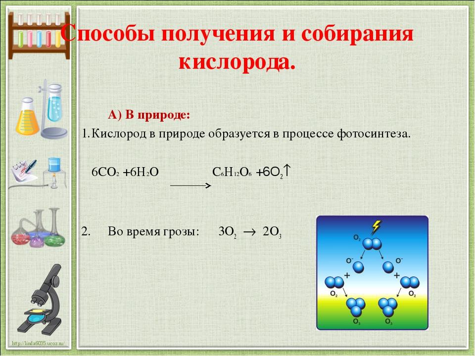 Способы получения и собирания кислорода. А) В природе: Кислород в природе обр...