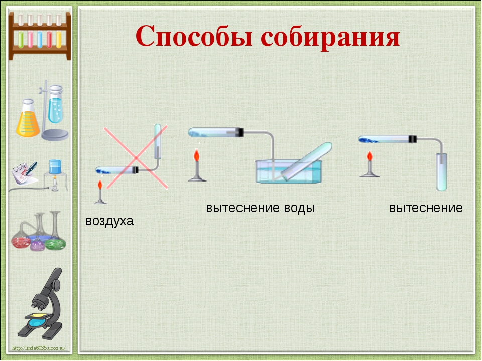 Способы собирания вытеснение воды вытеснение воздуха http://linda6035.ucoz.ru/