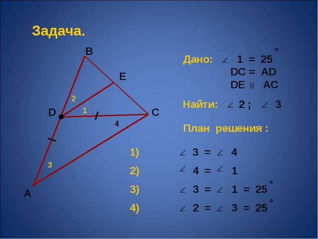 А В С 1 2 3 Задача. Дано: 1 = 25 DС = АD DЕ АС Найти: 2 ; 3 План решения : 1)...