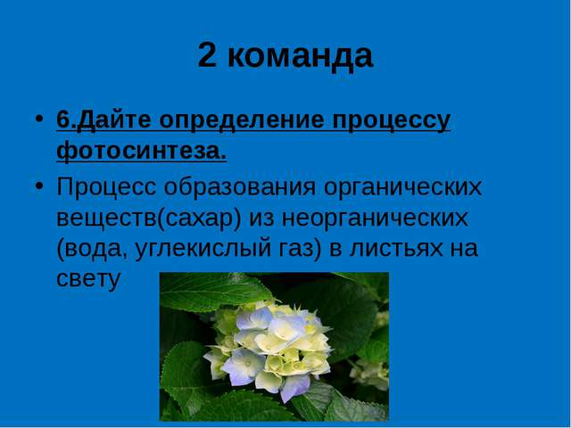 2 команда 6.Дайте определение процессу фотосинтеза. Процесс образования орган...