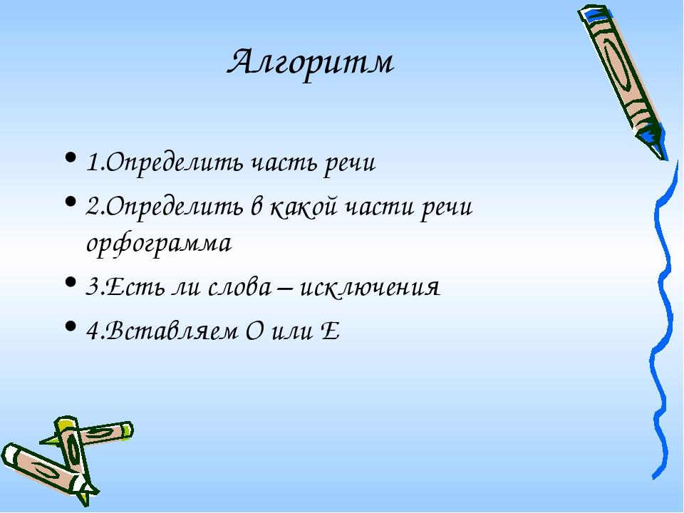 Алгоритм 1.Определить часть речи 2.Определить в какой части речи орфограмма 3...