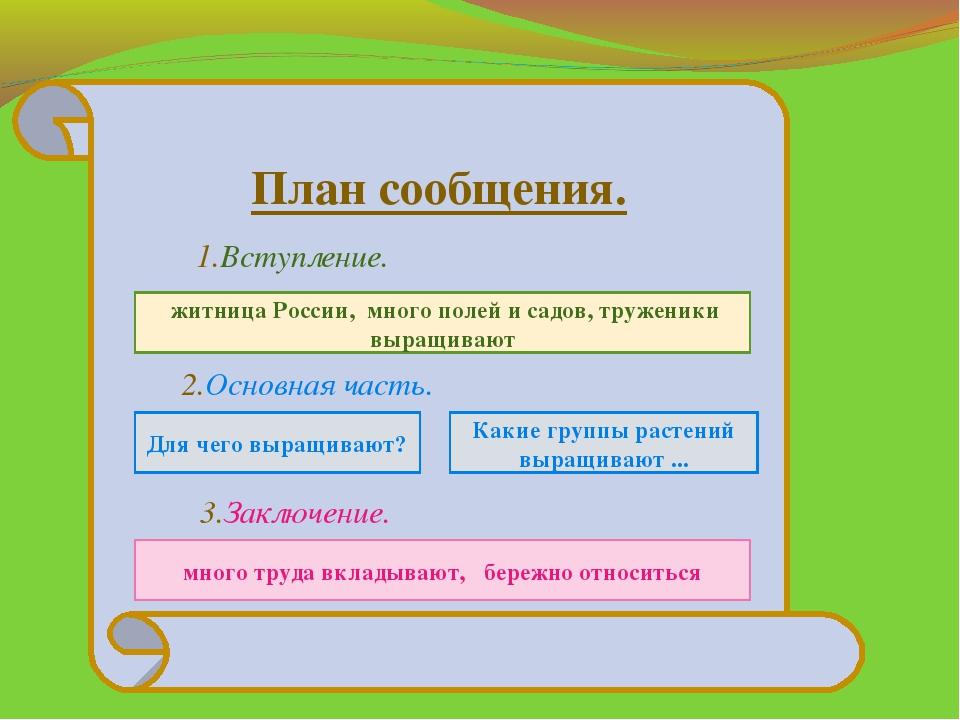 План сообщения. 1.Вступление. 2.Основная часть. 3.Заключение. житница России,...
