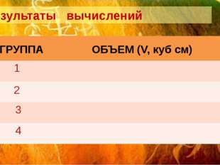 Результаты вычислений ГРУППА ОБЪЕМ (V,куб см) 1 2 3 4
