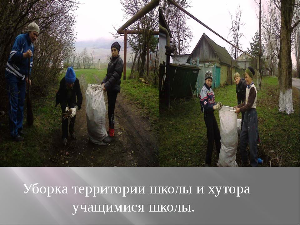 Уборка территории школы и хутора учащимися школы.