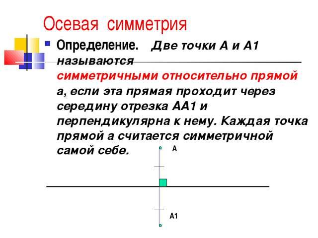 Осевая симметрия Определение. Две точки А и А1 называются симметричными от...