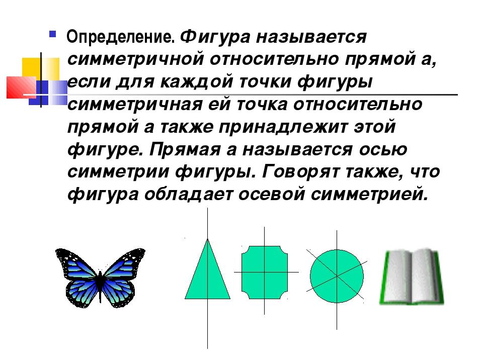 Определение. Фигура называется симметричной относительно прямой а, если для к...