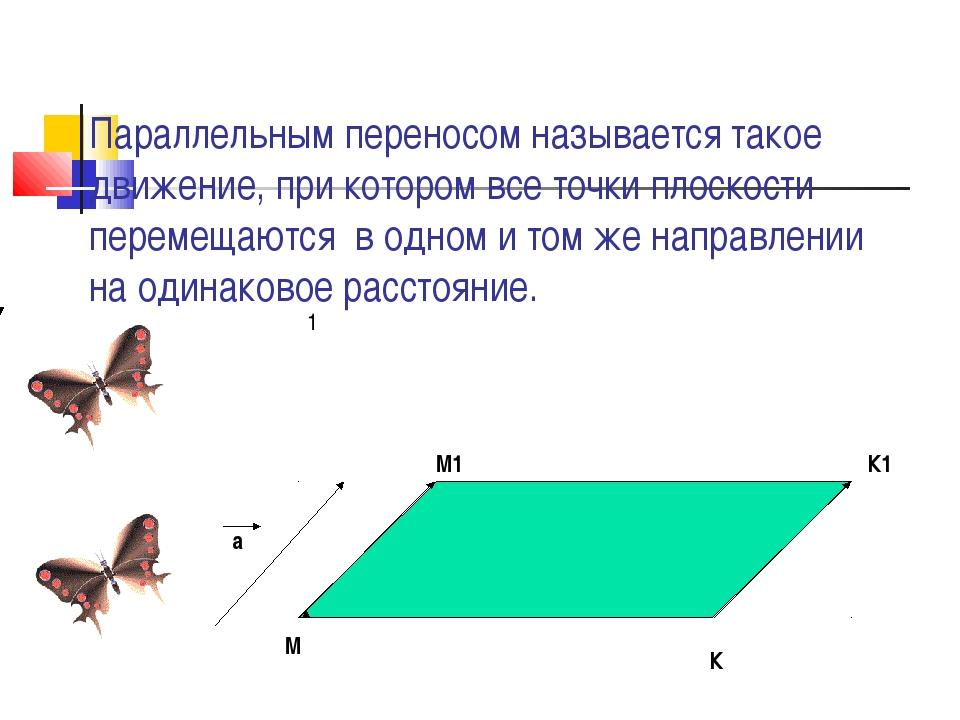 Параллельным переносом называется такое движение, при котором все точки плоск...