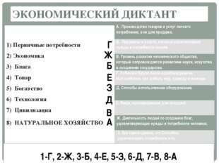 ЭКОНОМИЧЕСКИЙ ДИКТАНТ 1) Первичные потребности 2) Экономика 3) Блага 4) Тов