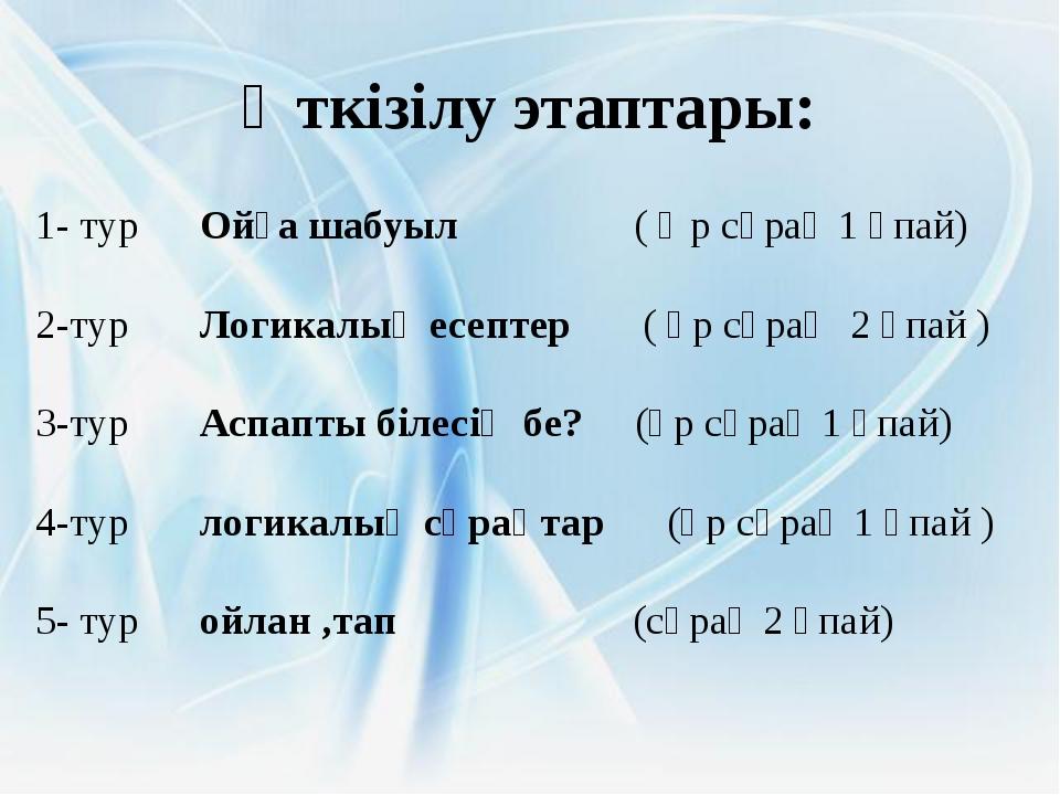 Өткізілу этаптары: 1- тур Ойға шабуыл ( Әр сұрақ 1 ұпай) 2-тур Логикалық есе...