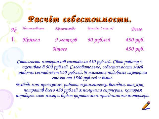 Расчёт себестоимости. Стоимость материалов составила 450 рублей. Свою работу...