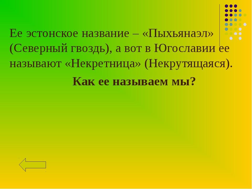Ее эстонское название – «Пыхьянаэл» (Северный гвоздь), а вот в Югославии ее н...