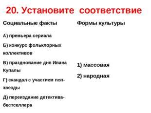 20. Установите соответствие Социальные фактыФормы культуры А) премьера сери