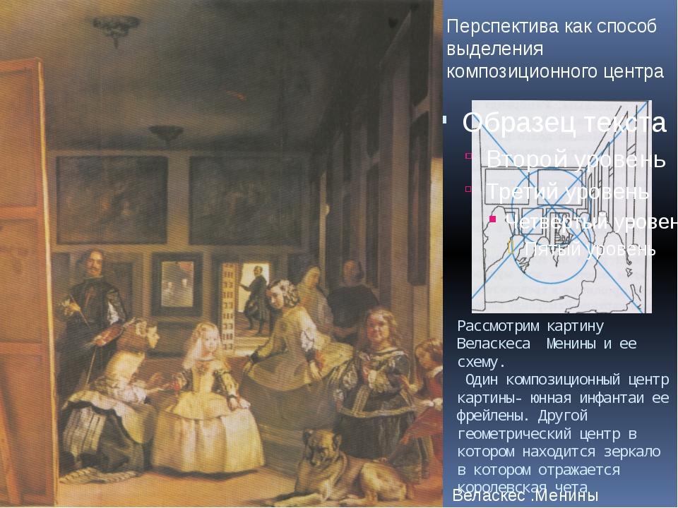 Рассмотрим картину Веласкеса Менины и ее схему. Один композиционный центр кар...