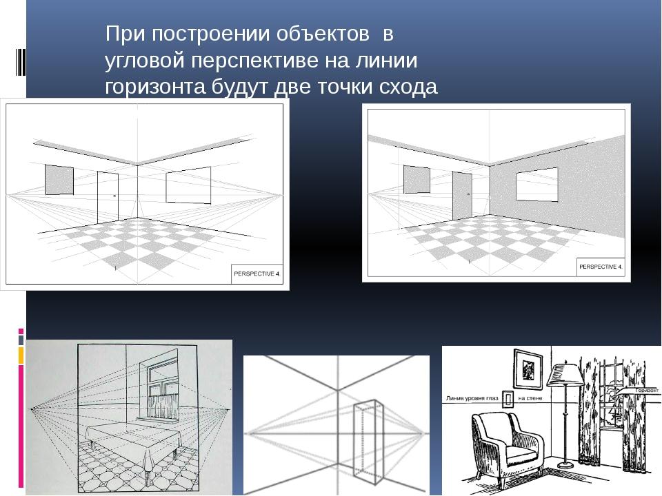 При построении объектов в угловой перспективе на линии горизонта будут две т...