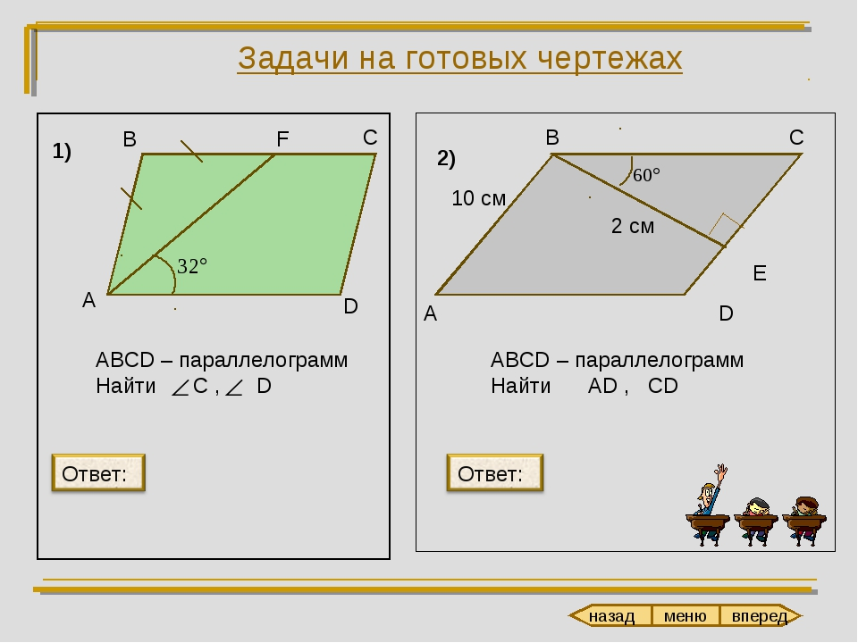Задачи на готовых чертежах В С F D А ABCD – параллелограмм Найти C , D А В С...