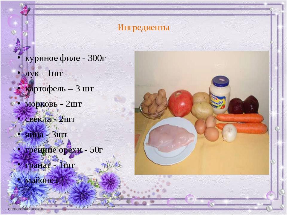 Ингредиенты куриное филе - 300г лук - 1шт картофель – 3 шт морковь - 2шт све...