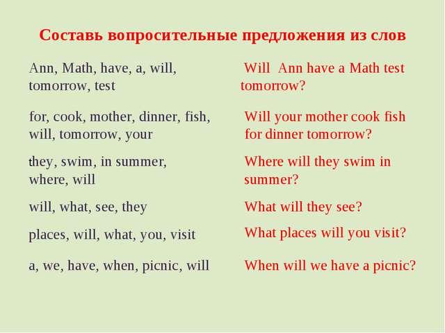 Составь вопросительные предложения из слов Ann, Math, have, a, will, tomorrow...