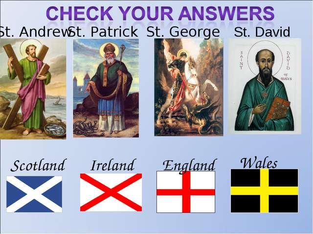 St. Andrew St. Patrick St. George Ireland England Scotland Wales St. David