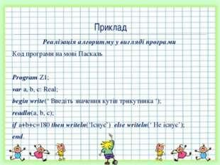 Реалізація алгоритму у вигляді програми Код програми на мові Паскаль Program