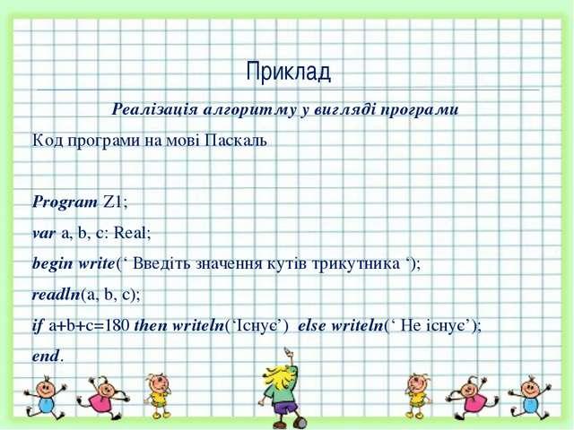 Реалізація алгоритму у вигляді програми Код програми на мові Паскаль Program...