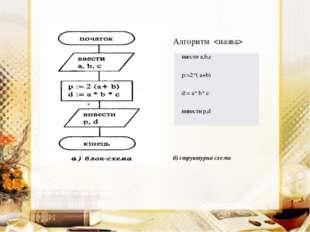 б) структурна схема Алгоритм  ввести а,b,с р:=2*( а+b) d:= a* b* с вивести р,d
