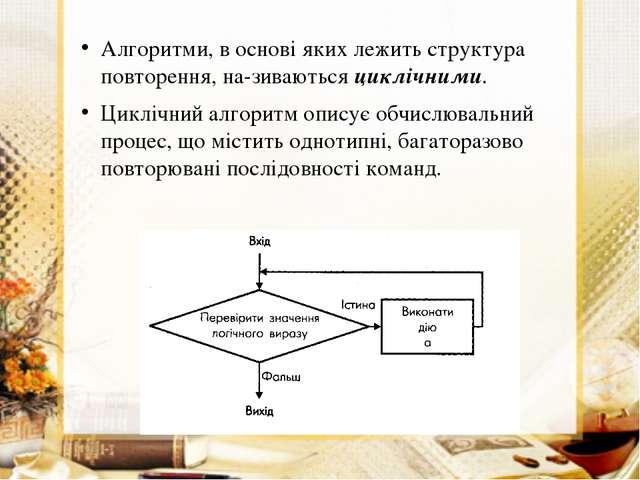 Алгоритми, в основі яких лежить структура повторення, називаються циклічними...