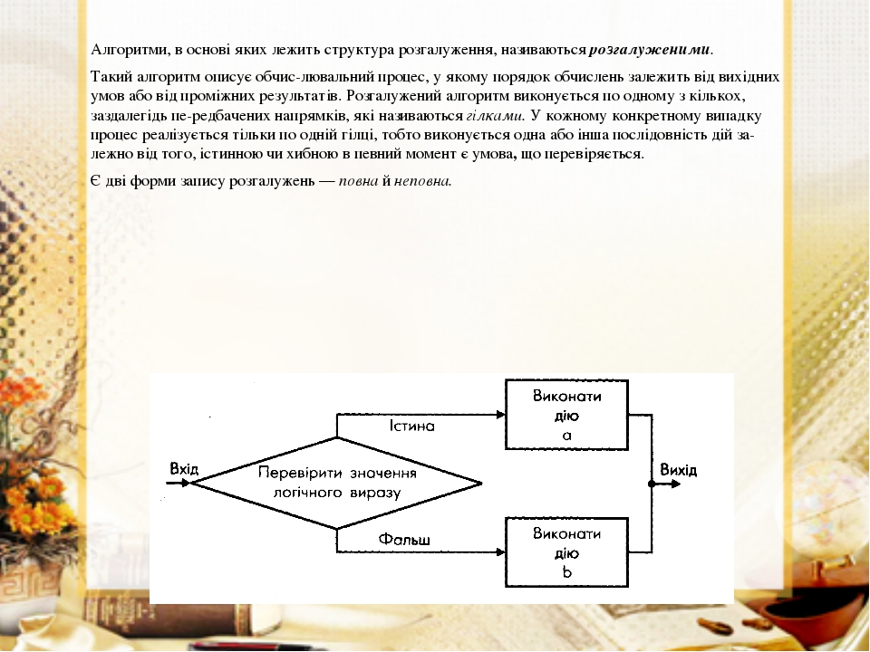 Алгоритми, в основі яких лежить структура розгалуження, називаються розгалуже...