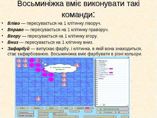 Восьминіжка вміє виконувати такі команди: Вліво — пересувається на 1 клітинку...