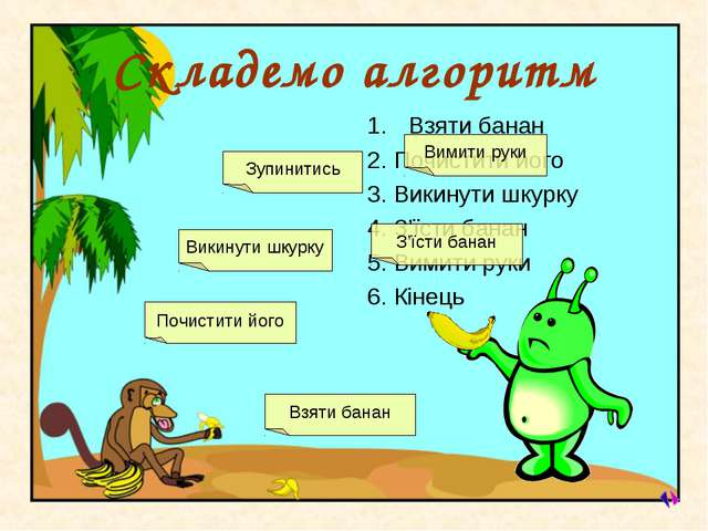 Cкладемо алгоритм Взяти банан 2. Почистити його 3. Викинути шкурку 4. З'їсти...