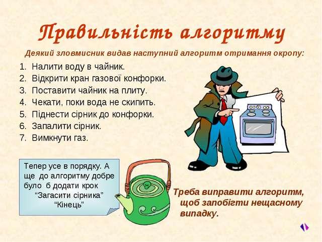 Правильність алгоритму 1. Налити воду в чайник. 2. Відкрити кран газової конф...