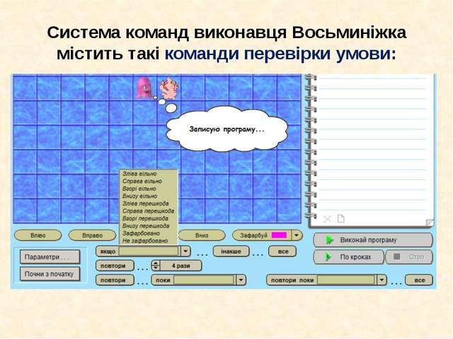 Система команд виконавця Восьминіжка містить такі команди перевірки умови:
