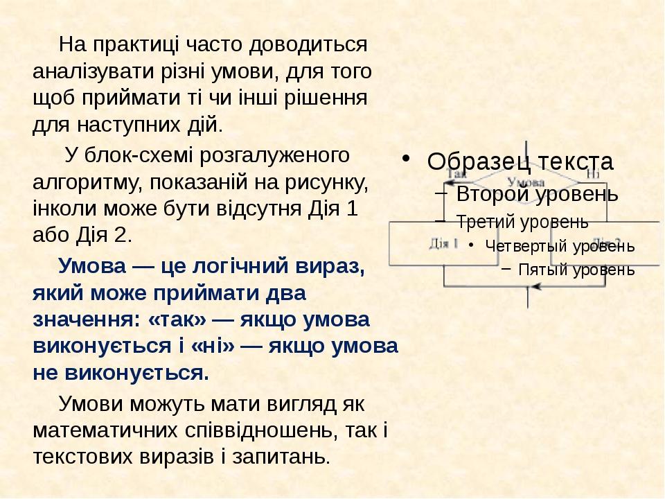 Умова, яка перевіряється при виконанні розгалуження, може бути простою і скла...